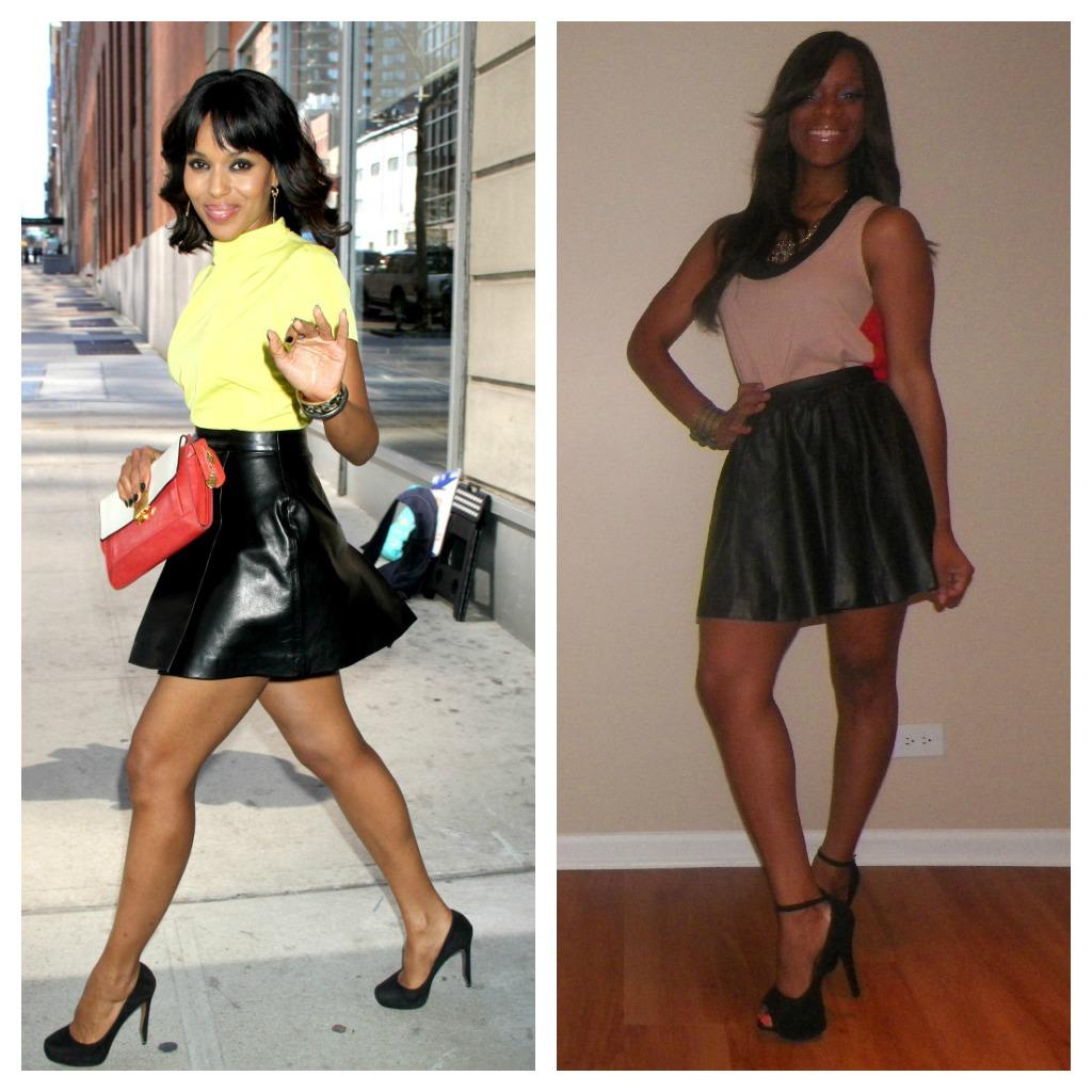 Glamspiration How To Rock A Black Leather Mini Skirt Like Kerry Washington Beauty The Beat
